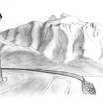 Dessin de montagnes en Suisse