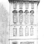 Dessin d'un bâtiment dans le vieux Nice